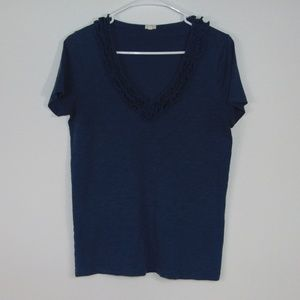 J. Crew Factory Blue Ruffle T-shirt